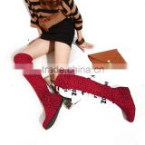2015 New Pretty Women Over Knee Flat Boot Winter Warm Snow Shoe EUR Size 35-43 Free Shipping Leopard Boots