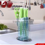 7 pcs color double injection soft touch handle kitchen knife set TPR handle knife set with acrylic stand