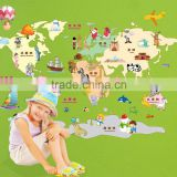 Kids Cartoon Colorful decal DIY world map wall stickers