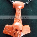 Natural Preciouse Rock Anchor&Skull Pendant / Newest Jewlrey Gift Cross&Skull Pendant/ Unique Jade Pendant