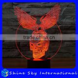 Creative Vision 3D Skull with Wings Shaped LED 7 Colors Flashing Touch Control Acrylic Night Light