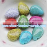 Charming Chunky 7*13*17MM Multicolor Natural Cracked Teardrop Acrylic Leaf Shaped Spacer Beads DIY
