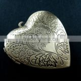 39mm big flower heart shape vintage style antiqued bronze flower photo locket DIY pendant charm jewelry supplies 1131052