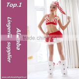 Hot selling Polyester fashionable bikini christmas masquerade costume with hat and hairy leg set