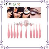 Pink 10PCS Multipurpose Makeup Toothbrush Oval Curve Foundation Liquid Cream Powder blending flawless Nylon Brush set Cosmetic