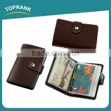 Toprank New Product Fashion Push Button PU Leather Credit Card Holder, Mens Business Card Wallet