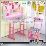Nursery school furniture children desk and chair study table for kids cartoon picture metal kid table