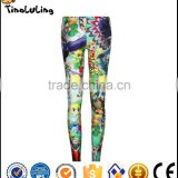 Hot Spring Winter Fitness Bright Rainbow Milk Silk Spandex Nylon Ladies Custom Digital Galaxy Print Leggings