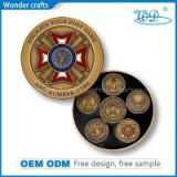 Excellent engraving custom logo red copper antique gold smooth edge numbering challenge coins
