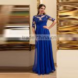 Vestido azul royal Long Dress Party Evening Gown Half Sleeves Lace Prom Gown Chiffon Zipper Robe de soiree