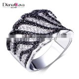 Super Deal Micro Setting Cubic Zirconia Black White Punk Contrast CZ Wedding Ring