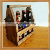 Wood Beer Carrier and Condiment Caddy with Attahed Bottle Opener
