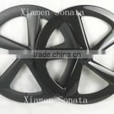 New style Sonata carbon 5 spoke bicycle wheels 65mm clincher with 3K matte finish for road/track bike