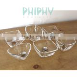 Special set of 6 Glass bowl, finger food, tapas, saucer dish, mini glass dip bowl Square glass bowl