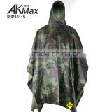 Military Waterproof Rain Poncho Hooded 100% Polyester with PVC Coating Material Camo Rain Poncho