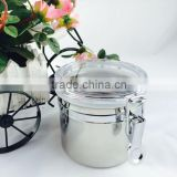 new product stainless steel airtight canister with plastic lid seal pot sealed cans