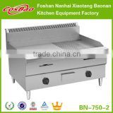Commercial Counter Top Stainless Steel Gas Griddle,1/2 Flat&1/2 Grooved Plate,BN-750-2