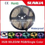 3528 SMD 5M/Roll 60LED/M 300 LED 12V waterproof Flexible Strip Light Pure White/Warm White/Blue/Green/Red/Yellow/RGB