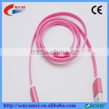 Wholesale smiling face LED micro data line /Transparent rubber, noodles cable with LED light smiling face data line