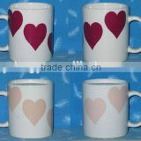 Valentive's Day gift sets promotional holiday gift custom picture white cheap magic ceramic tea mugs
