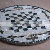 Chinese river shell mosaic mixed with sea mother of pearl mosaic inlay table top