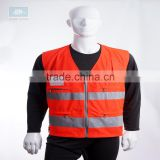 EN20471 high visibility red reflective safety straps vest with pockets