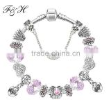 2016 New Design Beautiful & Romantic Charm Bracelet With Heart Charms Bead Wholesale