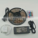 5M/Roll waterproof SMD 5050 battery powered led strip light 150led with IR remote control+power supply