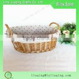 Oval wicker bread basket with cotton liner factory supplier