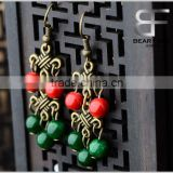 Retro malachite Beads Drop Earrings Vintage Silver for Women