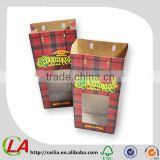 Red Plaid Pouch Food And Gift Kraft Paper Bag With PVC Window                                                                         Quality Choice