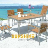Shunde factory synthetic wood furniture---5pcs aluminum frame wpc dining recline table chairs set