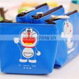 Fancy Promotion gift PU Leather Zipper Mini small cheap cartoon blue Doraemon printing pouch wallet euro coin purse wholesale