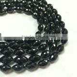 #277H Natural Gemstone Oval Faceted Beads Loose Black Spinel