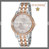 FS FLOWER - Stainless Steel Between Rose Gold Watch With Diamond