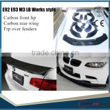 HOT SALE 3SERIES E92 E93 M3 LB works style body kit CARBON FRONT LIP WITH WING+FRP FENDERS