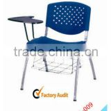 platic school chair with writing board and schoolbag rack AH-009