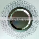 Manufacturers Wholesale Wedding and Hotel Decorative Gold Silver Beaded Glass Charger Plate
