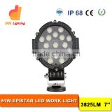 Hot sale Supplier 51R black body color work light 51W LED work led lights for cars boats light for offroad