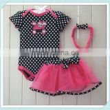 Hot Sale Baby Infants Girl's Child One Piece Ruffles Tutu Romper Jumpsuit skirt and headband set