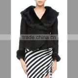 Customized women's black 100% Tuscany sheepskin suede jacket with large soft fur collar