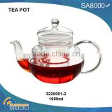 TP001-2(1000ML),beautiful heat resistant glass teapot
