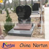 Cemetery used cheap upright granite double heart headstone NTGT-438A