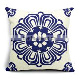 blue and white porcelain printed throw pillow cover