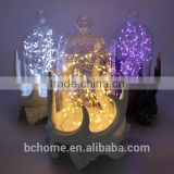 Resin Antler holder glass globe with Multi color Led string lights for Christmas decoration