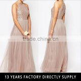 New arrival ladies sex evening gown models wholesale sequin top tulle bottom evening dress