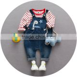 S17661A 2017 Children's Clothing Ripped Jeans Baby Boys Leisure Denim Overalls