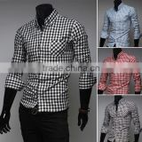 Latest Fashion Collar Band Design Men Lattice Clothe Fabrics Casual Dress Shirt