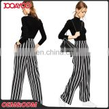 Wholesale High Waisted Vertical Black And White Stripe Lady Pants Wide Leg New Style Women Trousers