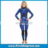 3D Printing Sea Blue Camo Vertigo Style Womens Underwater Hunter Spearfishing Wetsuit